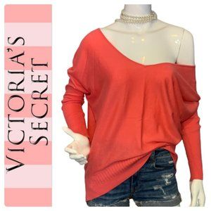 Victoria's Secret coral high low v-neck sweater-XS